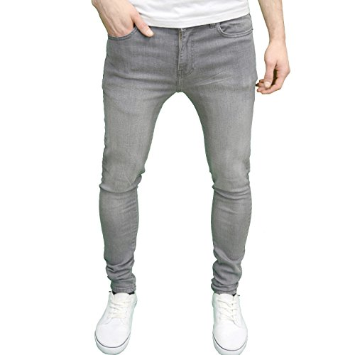 Super Low Straight Jean (526Jeanswear Herren Stretch Super Skinny Fit Jeans 30W/30L, Grau)