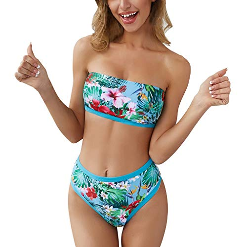 Lucky Mall Damen Mode Farbdruck Badeanzug, Frauen Sommer Schwimmbekleidung Trägerloser BH+Badehose Gesetzt Zweiteiliger Bademode Geteilter Strandmode Sexy Bikini