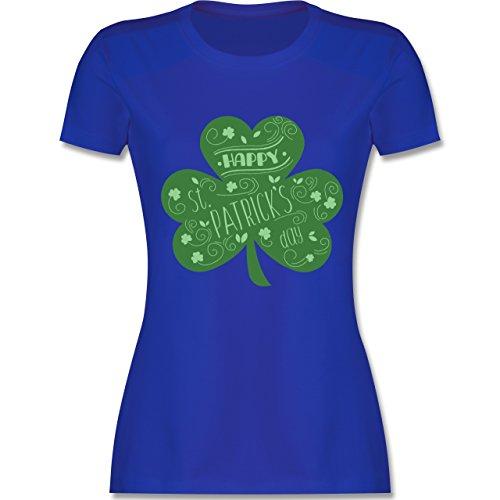 Shirtracer St. Patricks Day - Happy St. Patricks Day Kleeblatt - Damen T-Shirt Rundhals Royalblau