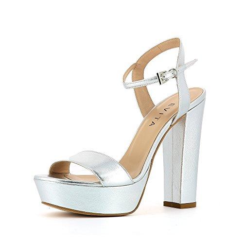 STEFANIA Damen Sandalette Glattleder Silber