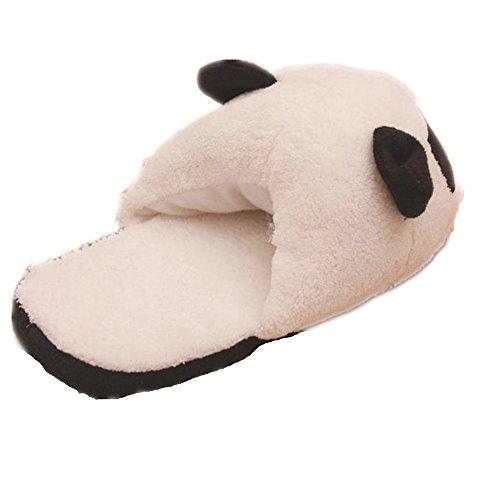 Fami Les Femmes Panda Hiver Chaud en Peluche antidérapants Indoor Accueil Chaussons