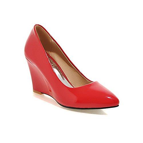 AllhqFashion Damen Hoher Absatz Rein Lackleder Spitz Schließen Zehe Pumps Schuhe Rot
