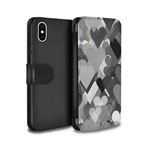 Stuff4 Coque/Etui/Housse Cuir PU Case/Cover pour Apple iPhone X/10 / Formes Abstraites Design / Mode Noir Collection Coeurs Transparents