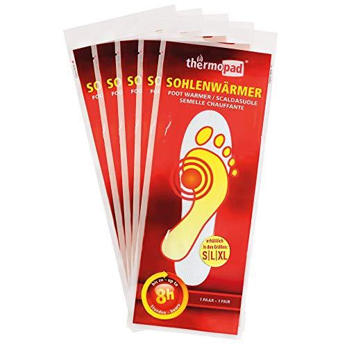Thermopad Sohlen-Wärmer, kuschlig warme Füße, 8 Stunden lang 37°C, Schuhheizung, Heizsohlen, Größe XL, 5 Paar -