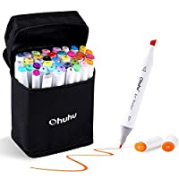 Ohuhu 24/40/60/80 Colors Dual Tips Permanent Marker Pens Art Markers for Kids, Highlighter Pen with Carrying Case for Drawing Sketching Adult Coloring Highlighting and Underlining (40 Colours)