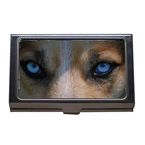 Visitenkartenhalter, Augen Tier Natur Hund Blau Gefahr Raubtier Wolf, Visitenkarte Edelstahl