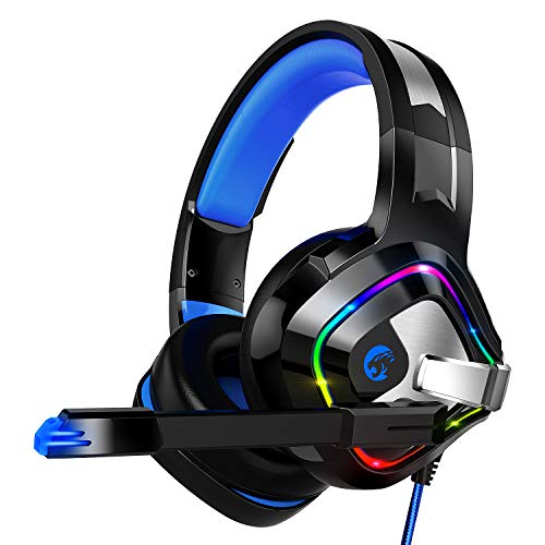 Gaming Headset für PS4 PC Xbox One, ZIUMIER Game Headphone mit Noise Cancelling Mikrofon und Surround Sound, RGB LED Licht Weiche Komfort Ohrenschützer für Laptop - Bewegung Polsterung
