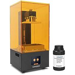 LONGER Orange 10 Imprimante 3D en Résine avec Écran Tactile, Matrix-UV-LED, Coupe Rapide, Dystème D'avertissement de Température, Taille D'impression 98mm(L) x 55mm(W) x 140mm(H) avec 250g de Résine