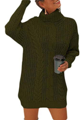 dahuo Womens Turtle Cowl Neck Ribbed Cable Knit Long Sleeve Sweater Jumper Green L - Cashmere Deep V-neck Sweater