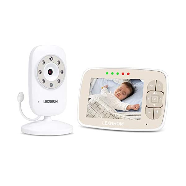 """LEXNHOM Portable Baby Monitor,Wireless Two-Way Talk 3.5 Inch baby monitors with Camera and Eco Mode,Night Vision,Temperature Monitoring , Lullabies (3.5 inch-Gold) LEXNHOM ★ FHSS TECHNOLOGY: New model of baby visual monitor with extra-large 3.5"""" TFT LCD screen and 640*480 pixels,which provides you possibility to watch your baby clearly, greatly increases freedom and flexibility for parents, it would be an ideal choice as a gift for newborn parents. ★ POWER SAVING MODE:When digital camera in silence, baby video monitor LCD display switches to standby state automatically, and turns on when camera detects any sound, changes of volume can also be displayed by the indicator light. ★ INFRARED NIGHT VISION:Video baby monitor's with infrared night vision and night light, protecting baby from glare, helping parents to see baby in darkless night clearly. 2"""