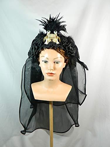 Headpiece schwarz Gothic Fantasy Kokoshnik Kopfschmuck Krone Schleier