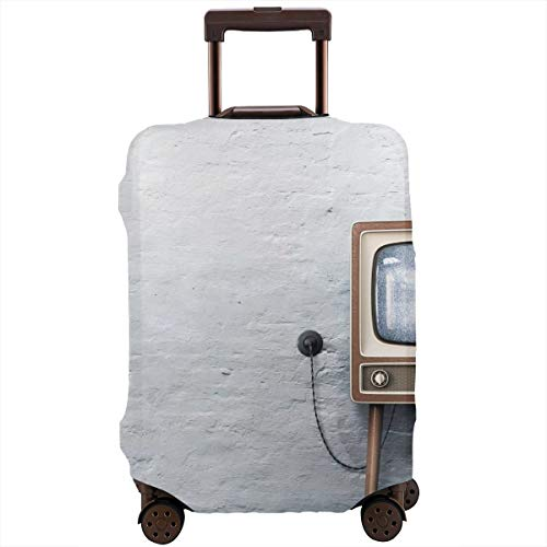 Travel Suitcase Protector,Old Television On A White Dirty Plaster Wall Background,Suitcase Cover Washable Luggage Cover M (26 Tv Samsung)