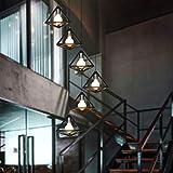 E27 Pendelleuchte Treppenhaus Pendelleuchte Retro Villa Duplex Rotierende Treppenhaus Lange Pendelleuchte 4.5Kg 1.7-2M, 6 Köpfe hoch 2 Meter