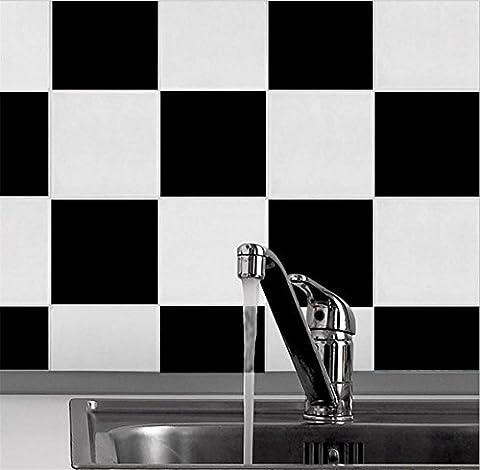 Selbstklebende Tapete PVC-Schwarzweiss-Flieseaufkleber wasserdichte Tapetendekorationküche Badezimmerbadezimmertapete -20cm * 20cm-10 Blätter