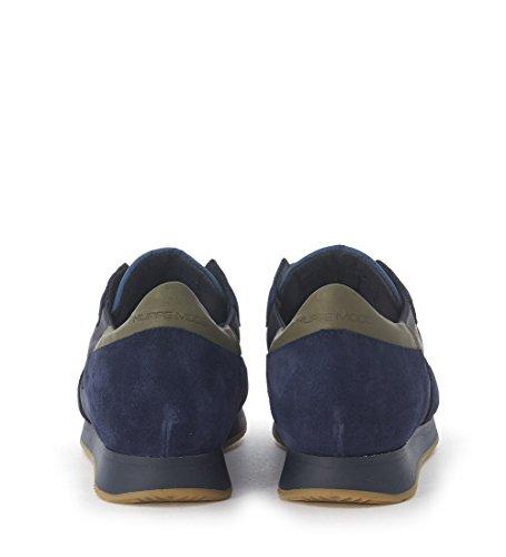 Basket Philippe Model Tropez en peau et suede bleu Bleu