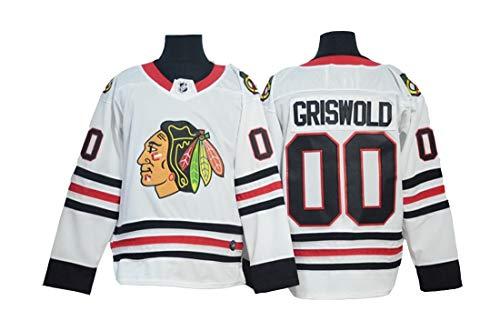 Gmjay Griswold # 00 Hockey Trikot Chicago Blackhawks Hockey Rot Genähte Buchstaben Zahlen Jersey Langarm T-Shirt,White,L