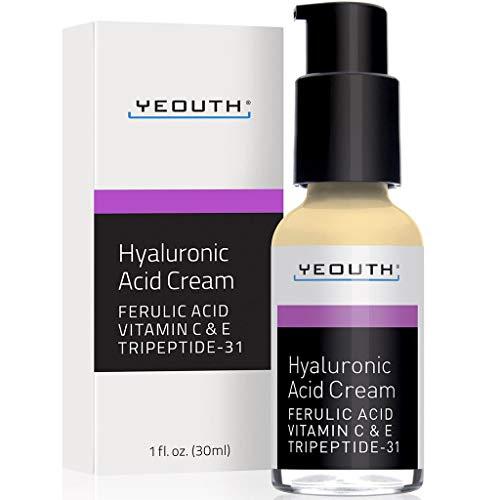 YEOUTH Hyaluronsäure-Creme Gesichtsfeuchtigkeitscreme, Trockene Haut, Anti-Aging Gesichtscreme, Anti-Falten, Porenverkleinerer, Ebenmäßiger Teint mit Vitamin C, Vitamin E, Ferulasäure, Tripeptid-31 - Dmae Haut Creme