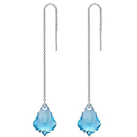 FANZE Damen Silber-Ton Lange Kette Baroque Tropfen Einfädler Ohrringe Hellblau Kristall von (Kette Einfädler Ohrringe)