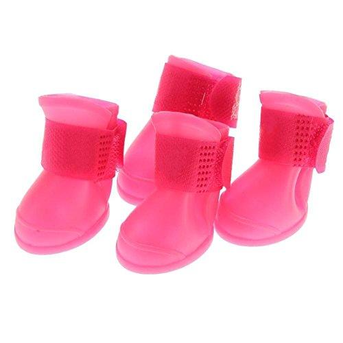 Botas de lluvia para perros, impermeables, antideslizantes, hechas de PVC, protección para la nieve, suaves, duraderas, tamaño pequeño, 4 unidades