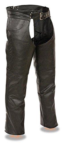 EVENT LEATHER Uomo Motorycle Classic Jean Pocket Chap in pelle nera con fodera in rete rimovibile regular)