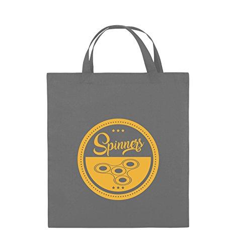 Comedy Bags - Spinners - MOTIV KREIS - Jutebeutel - kurze Henkel - 38x42cm - Farbe: Schwarz / Pink Dunkelgrau / Gelb