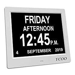 [Newest Version] 12 Options Alarms Clock, Auto Night Dimming Display- Memory Loss Day Clock Digital Calendar Day Clock, Extra Large Non-Abbreviated Day & Month Digital Clock