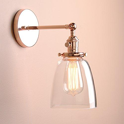 n Vintage Industrial Metal Head Glass shade Loft Wall Light Scone Wall Lamp (copper head) by Buyee (Halloween-scones)