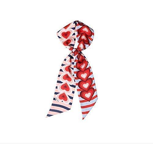 Gwill Women's Heart Print Seide dünne Schal/Halsband Halstuch Krawatte/Seidenband Sash Hochzeit Sash Bridal Gürtel Handtasche Griff Ribbon Valentines Geschenk