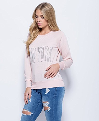 Ladies Girls New York Diamante Sweatshirt EUR Taille 36-42 Nu