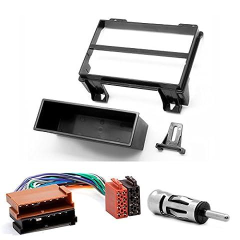 CARAV 11–049–de 96DIN Kit de montage autoradio façade d'autoradio avec adaptateur ISO et adaptateur d'antenne dans Dash Car Audio Installation Kit for Head units Ford Fiesta 2001–2005; FUSION 2002–2005182x 53mm