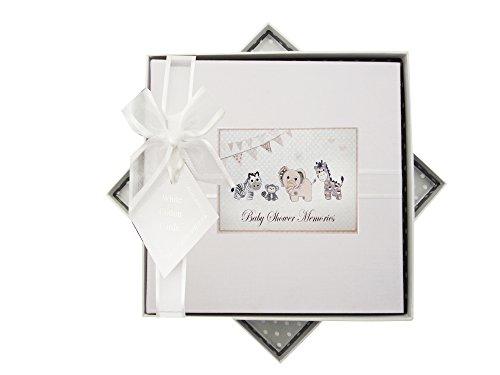 WHITE COTTON CARDS Baby Dusche Memories Fotoalbum, Mittel, Silber Toys, Tiere, Stoff, Weiß, 23x 23x 5cm