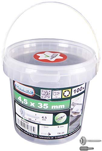 Connex Spenglerschrauben 4,5 x 35 mm - 100 Stück - TX Torx-Antrieb - Mit Dichtscheibe - Korrosions- & witterungsbeständig - Inkl. Bit / Fassaden-Schrauben / Dachschrauben / Schrauben-Eimer / B30165