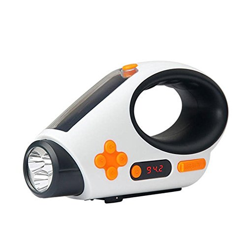 iPenty Solar Taschenlampe Radio, Tragbare Hand Kurbel Dynamo FM Radio mit [500mAh 3.7 v Polymer Batterie] USB-Energien-Bank, LED-Taschenlampe für Outdoor-Camping-Wandern