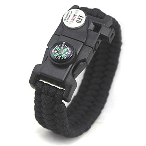 Chiconon Herren Schwarzes Armband 23*2.5cm/50g (EINSTELLBAR) aus Plastik und Harz sowie Rothco mit LED Notsignal für Biwakieren und Überleben Jungen Armkette Handkette