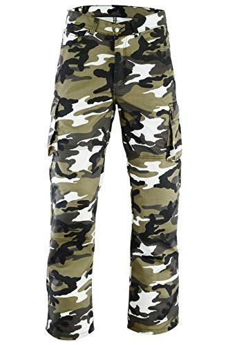 GermanWear® Motorradhose Motorradjeans, Futter aus Kevlar® stoff jeanshose Jeans mit Protektoren, militärfarbe camouflage, Jeansgröße:W32/L34