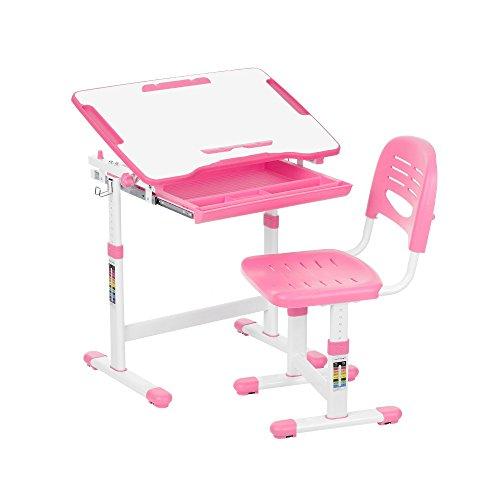 Ikayaa, scrivania inclinabile per bambini con sedia, con porta rotolo di carta, adatto per attività artistiche, con tazza portamatite, altezza regolabile