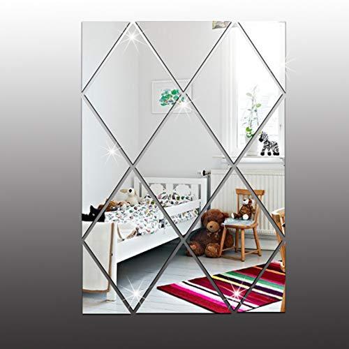 Diamant-sofa-satz (ZYJ 3D Spiegel Wandaufkleber, Diamant Geometrie Dekorative Spiegel Wandaufkleber für Schlafzimmer Veranda Badezimmer,Silver)