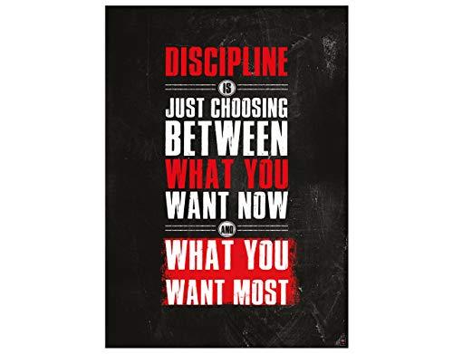 great art poster motivazionale di allenamento (59,4x42cm)- discipline is just choosing between what you want now
