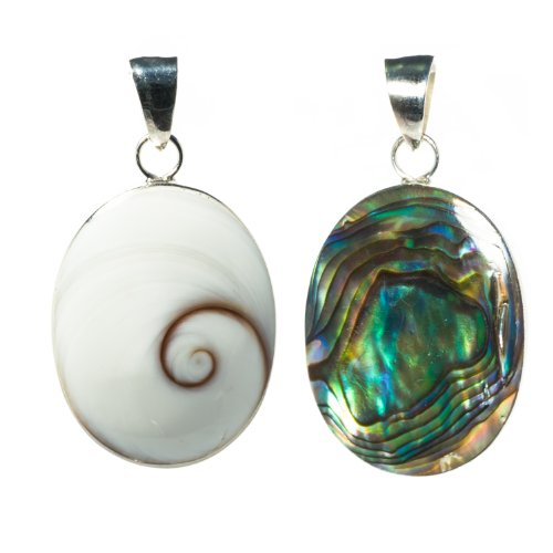 Bella Carina Damen Anhänger mit shiva auge und Abalone zweiseitig oval 2,2 cm, 925 Sterling Silber