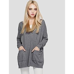 BaiChunYunYi Damen Standard Pullover-Lässig/Alltäglich Solide V-Ausschnitt Langarm Polyester Herbst Winter Dünn Mittel Dehnbar