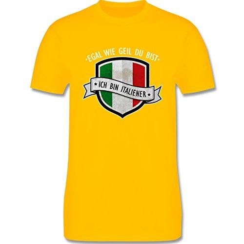 Shirtracer Länder - Egal wie Geil Du BIST - Ich Bin Italiener - Herren T-Shirt Rundhals Gelb
