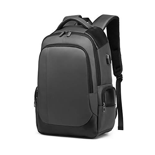 DONZ Herren Damen Laptop Rucksack Schulrucksack Canvas 15.6 Zoll Laptoprucksack Business Backpack Daypack Reiserucksack mit USB-Ladeanschluss,Gray
