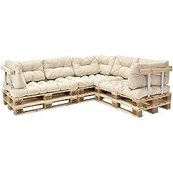 [en.casa]®] Sofá de palés - europalés de 5 plazas con Cojines - (Beige/Crema) Set Completo, incluidos apoyabrazos y respaldos