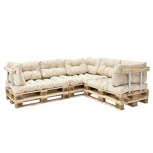 [en.casa] Palettenkissen - 11-teilig - Sitzpolster + Rückenkissen [creme] Paletten-Sofa In/Outdoor - 2