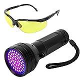 Vavopaw Torcia UV, Lampada Ultravioletta 395nm 51 LED con Occhili di Protezione Classe di Efficienza Energetica A per Animali Cani Gatti Urina Scorpioni - Nero