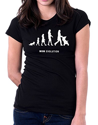 t-shirt festa della mamma -Evolution mom - by tshirteria nero
