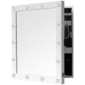 wandschrank mit spiegel 36x44x10cm und beleuchtung 14 led organizer f r schmuck und schl ssel. Black Bedroom Furniture Sets. Home Design Ideas