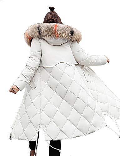 Aceshin Winterjacke Damen Schwarz Mantel Lang Parka mit Fell Jacke Daunenjacke Outwear Mit Fellkapuze (EU 42(Asian XL), Weiß 2)