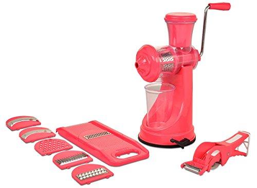 Magikware Fruit Vegetable Hand Juicer, Slicer & Peeler Super Kitchen Combo Set (Pink, Set of 9)