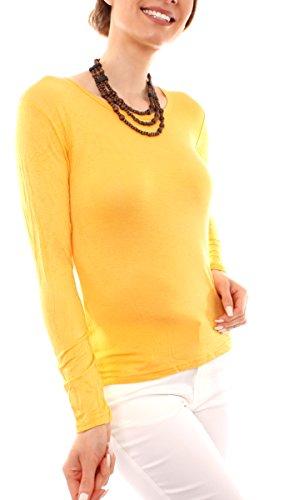 Fragola Moda Fragolamoda Damen Basic Langarm Shirt Rundhals melonengelb